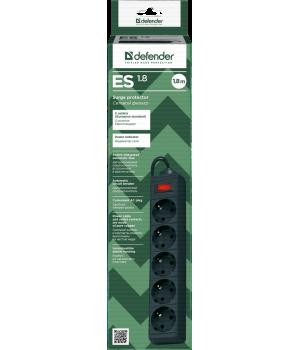 Сетевой фильтр Defender ES  - 1.8 м, 5 розеток, чёрный