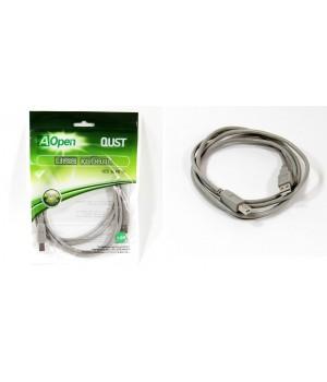 Кабель соединительный Aopen USB2.0 AM/BM 3м серый