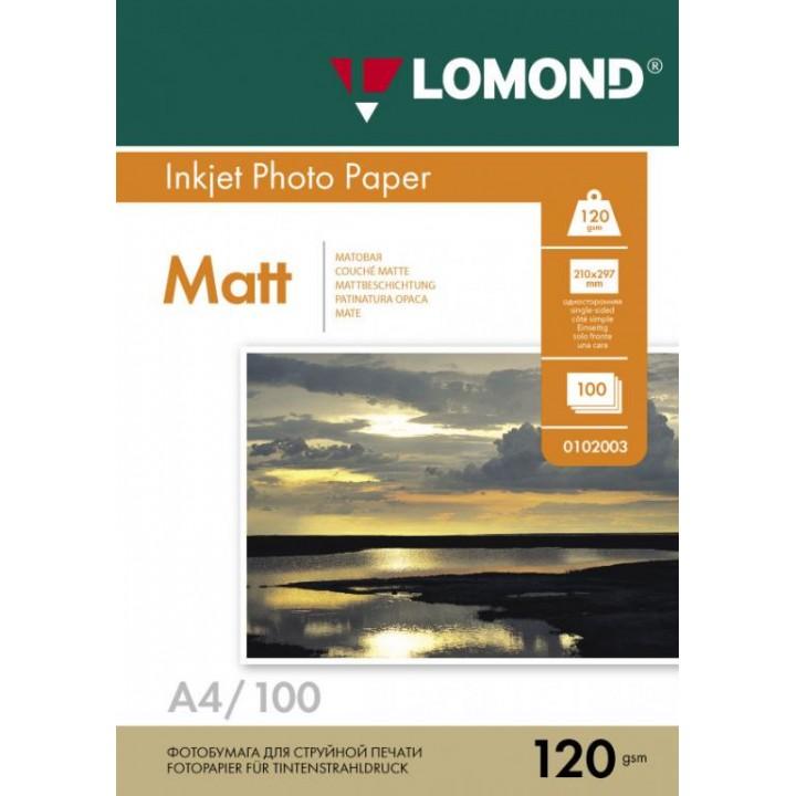 0102003 Фотобумага Lomond односторонняя матовая A4/120г*м2/100 л.