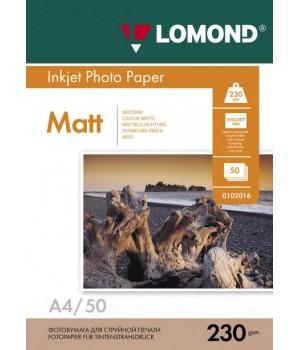 0102016 Фотобумага Lomond односторонняя матовая, A4/230г*м2/50 л для струйной печати