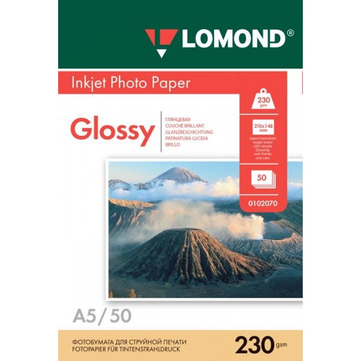 0102070 Фотобумага Lomond одностороняя глянцевая, А5/230г*м2/50 л