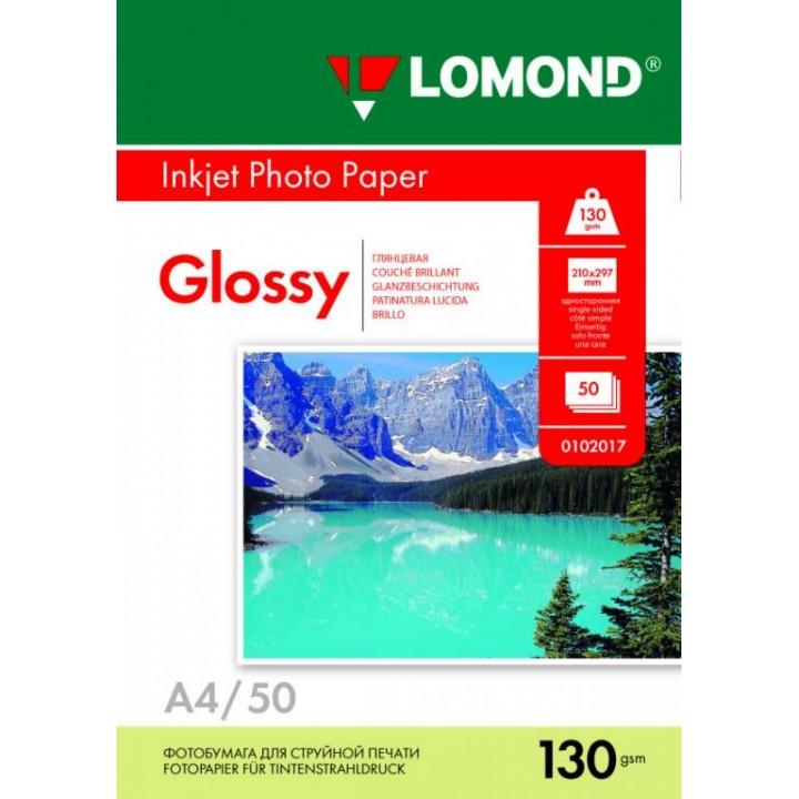 0102017 Фотобумага Lomond односторонняя глянцевая, А4/130г*м2/50 л для струйной печати