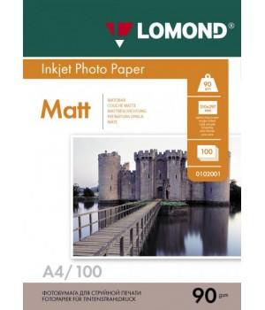 0102001 Фотобумага Lomond односторонняя матовая A4/90г*м2/100 л